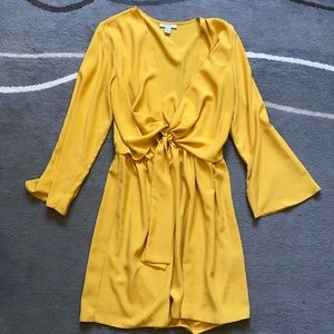 Topshop Yellow Long sleeve Knot Dress medium 6